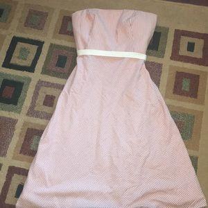 Loft strapless pink striped dress 👗